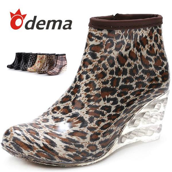ODEMA Fashion Women Wedge Rain Boots Female Ankle High Heel Boots Rain Waterproof Wellies Boots Women Rubber Water Shoes(China (Mainland))