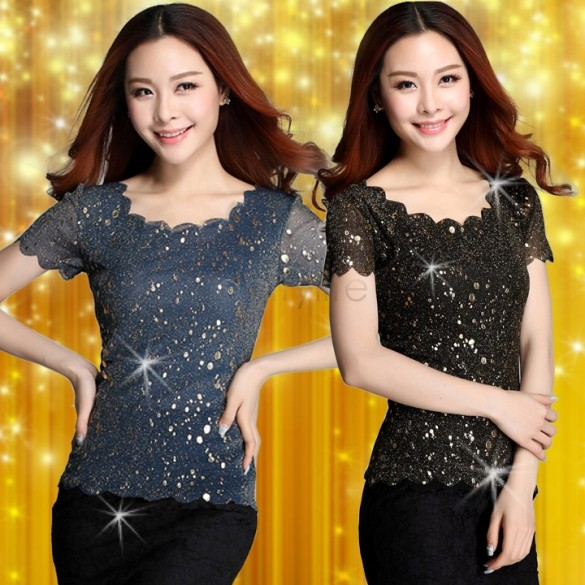 Spring 2014 Women Blouses Lace Gauze Render Unlined Upper Garment Of Female short Sleeves Blouse #011 SV003187(China (Mainland))