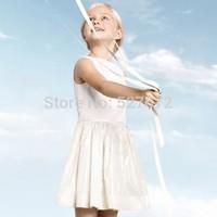 High end!2015 summer brand design girls dress,kids European designer cotton vest dress with bow,super quality