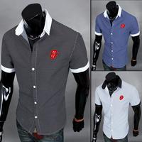 2014 Men New Shirt Summer Block Decoration Short-sleeve Shirt Free Shipping XMTS8832