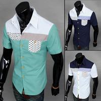 Hot Brand 2014 Men's Summer Clothing Slim Casual Short-sleeve Shirt MaleXMTS8807