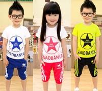 retail 2014 summer new design children clothing set for children t shirt black casual pants high quality