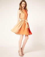 A Spring 2014 casual dress Europe and America hit the color waist chiffon halter dress folds free shipping hotsale