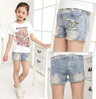 Retail Girls Lace Rhinestone Shorts Fashion Denim Shorts LG5572CH
