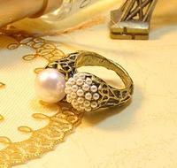 Accessories fashion asymmetrical pearl vintage ring