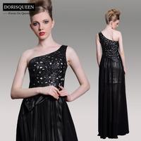 Dorisqueen New Arrival ready to wear One Shoulder Chiffon Black Long Prom dresses/Evening Dresses 2014 Celebrity Dress 31051