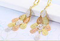Gold-plated Bohemian Mosaic gold earrings fashion long earrings allergy
