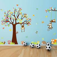 Tree Flowers Owl Wall Decals Kids Bedroom & Baby Nursery Stickers Art Room Decor 1212