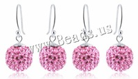 Free shipping!!!Rhinestone Earring,Jewelry For Women, Rhinestone Clay Pave Bead, Round, pink, 12x28mm, 10Pairs/Lot, Sold By Lot
