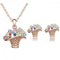 Birthday gift crystal earrings necklace fashion twinset flower basket 1116 crystal set