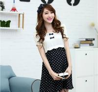 2014 maternity clothing summer fashion dot one-piece dress maternity short-sleeve dress chiffon skirt