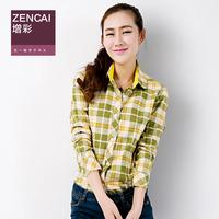 Spring 2014 plaid shirt female long-sleeve slim pure cotton thin 100% sunscreen shirt
