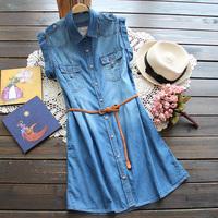 A027 2014 Summer New Casual Denim Dress Womens Slim Waist Turn-down Collar Short Sleeve Denim Dress + Belt Free Shipping