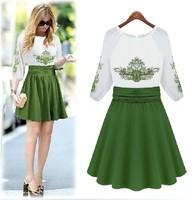 Big Promotion 2014 High Quality Women Summer Dress Female Fashion Embroidery chiffon One-piece Dress Girl Casual Dress S-XL