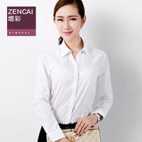 2014 spring white career shirt female long-sleeve slim shirt female stripe V-neck formal ol