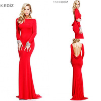 2014 Free Shipping Elegant Long Sleeve Evening Dresses With Crystal Beaded Red Chiffon Open Back Prom Party Gowns High Quality