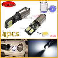 4pcs Canbus No Error Xenon White 4-SMD-5730 1206 BaX9s BA9 H6W Q65B T4W 53 182 257 LED Bulbs for Euro Cars Parking City Lights
