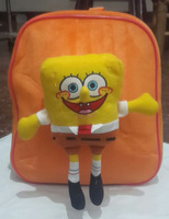HOT SALE 1 pcs SpongeBob Squarepants Figure Plush Kid Backpack Retail with plush doll toy of spongebob school bags High capacity