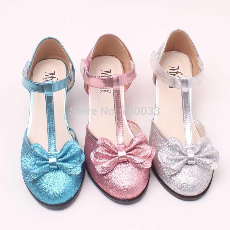 Блесточки дети обувь принцесса девочки обувь высокая пятки свадьба обувь 3 различных цвет