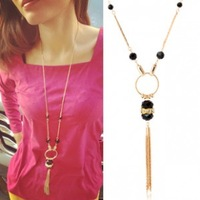 Accessories fashion design acrylic tassel long necklace hot-selling - - nl267