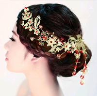 2014 New bridal jewelry luxurious Red crystal flower frontlet bridal hair jewelry wedding accessory