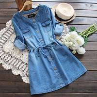 4578 2014 New Arrival Women's Dress Casual Long Sleeve Slim Waist Water Wash Denim Dress Free&Drop Shipping