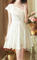 Sweet fairy elegant vintage strapless spaghetti strap wave ruffle lace slim waist one-piece dress white