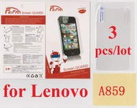 3 pcs/lot Anti Scratch Anti Glare Wholesale HD Transparent Clear Screen Protector for Lenovo A859 LCD
