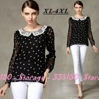 XL-4XL 2014 New Spring long sleeve Lace Peter Pan collar Polka dot shirt Ladies Chiffon blouse Women tops clothes 3074
