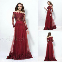 vestidos noite 2014 Wine Red Lace Evening Gown Formal Long Evening Dresses With Sleeves