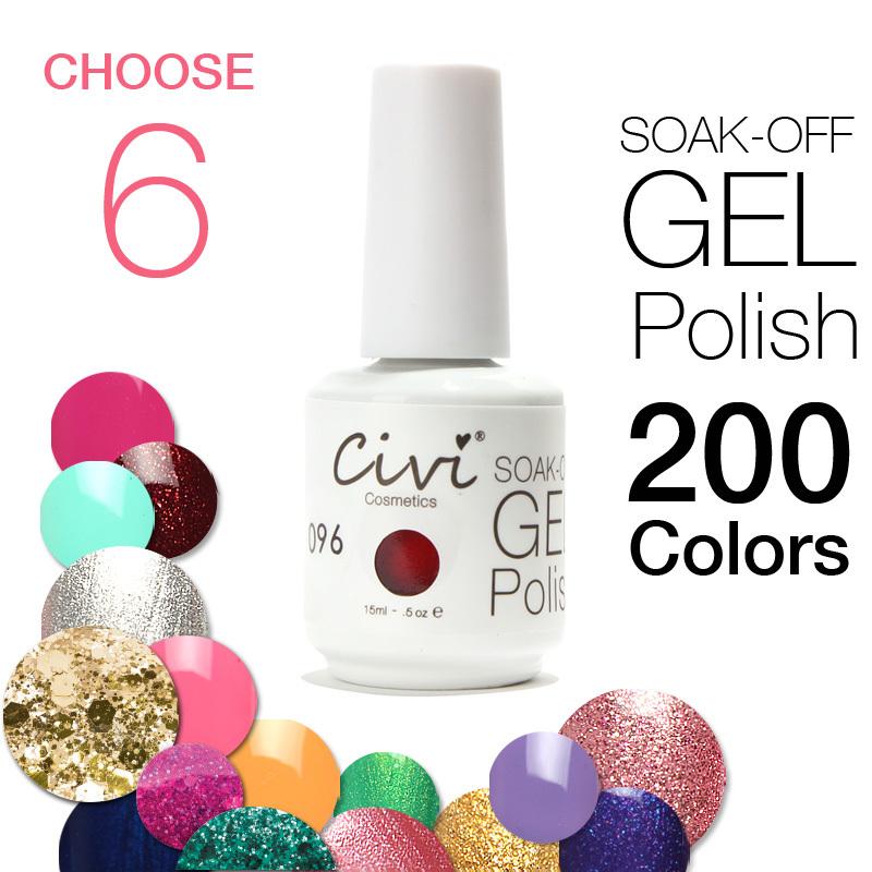 6PCS SetUV Gel By Civi Cosmetics 200 Colors Optional UV Gel Nail Polish Long-lastting UV Gel Nails up to 40 Days(China (Mainland))