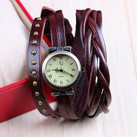 9 colors Vintage Genuine Leather Strap rivet watches for Women Dress Watches Quartz Watch 1pcs/lot