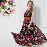 2014 Summer Chiffon Dress Fashion Women Elegant Digital Print Flower Expansion Bottom Plus Size One-Piece Dress Female Sundress