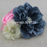 Trial order fabric peony flower headband baby girl headband chiffon pearl Rhinestone flower headband hair Accessories 10pcs/lot