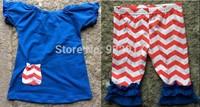 2014 New Baby Girls july 4th Chevron Capri set kids Quatrefoil Capri Set boutique cloth