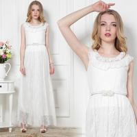 New 2014 Woman Brand Dress for Summer Wear Women/Female's Maxi Long Chiffon dresses Princess Girl Vest Sundress White Lace Dress