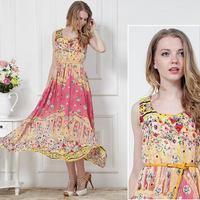 New Arrival Summer 2014 Fashion Women Rose Full Dress Expansion Bottom Printing Chiffon Dresses Plus Size Casual Women Sundress