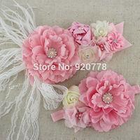2pcs set pink white ivory baby girl flower sash matching peony flower headband mom baby shower sash 8set/lot