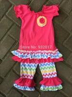 2014 New Baby Girls rainbow chevron hot pink Capri set kids Quatrefoil Capri Set boutique cloth