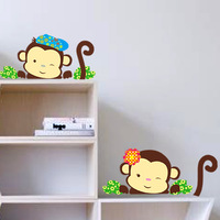 2014 New arrival popular fashion cute cartoon monkeys home decor wall stickers laptop fridge wall decal