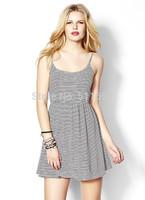Free shipping Fashion black-and-white 2014 horizontal stripe spaghetti strap one-piece dress