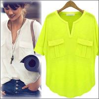 S-XL 2014 Hot Sale Women's Fashion Summer Short-Sleeve V-neck 100% Cotton Modal T-shirt Basic T shirt Summer Tops Tees