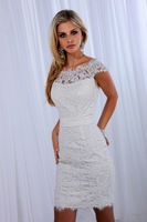 2014 Short Zipper Lace White Ivory Wedding Dress Custom Size 2 4 6 8 10 12 14 16 18 20++