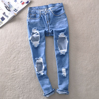 Big hole Casual Straight Pants street BF loose Jeans Trousers female