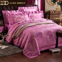 Free shiping pink 100% luxury home textile cotton satin jacquard four piece set fashion royal wedding four piece set