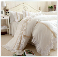 Free Shipping Luxury Korean Embroidered Lace Ruffle Bedding Sets,Twin Queen King Full Off White Duvet Covers Bedding Sets