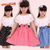 Summer wear new girls dress with short sleeves chiffon cotton princess dress girl's skirt