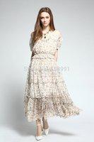 2014 summer new romantic elegance double silk round neck elastic waist lantern sleeve sweet floral vintage dress Free Shipping