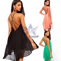 2014 New Summer Women Clothing Sexy Spaghetti Strap Dresses Halter Backless Chiffon Beach Dress Vestidos S M L XL SV001270