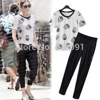 2014 women summer sets Sunflower breathable mesh T-shirt +elastic waist Lace pachwork skirt leisure suit top skirt two-piece set